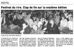 Article de presse locale pour Le Festival du Rire Année 2010