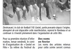 Article de presse locale pour Gestel en Fête Année 2012
